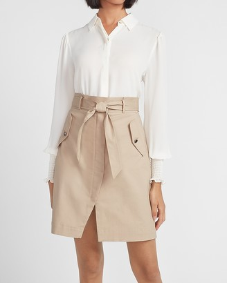 Express High Waisted Slit Front Utility Skirt