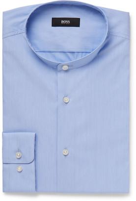 HUGO BOSS Sky-Blue Jordi Slim-Fit Grandad-Collar Stretch Cotton-Blend Shirt
