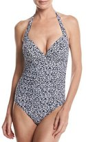 Michael Kors Shirred One-Piece Halter Swimsuit