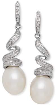 Arabella Cultured Freshwater Pearl (8mm) & Diamond (1/8 ct. t.w.) Swirl Drop Earrings in Sterling Silver