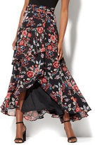 New York & Co. 7th Avenue - Tiered Wrap Maxi Skirt - Black Floral Print