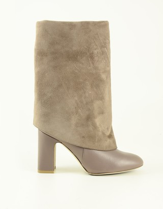 Stuart Weitzman Taupe Leather and Suede Foldover Women's Boots