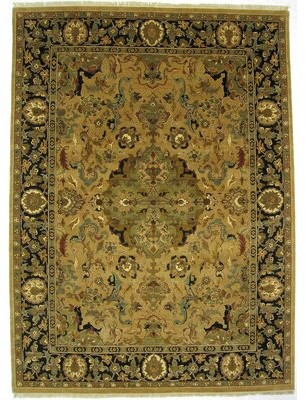 Green & Black Exquisite Rugs Moghul Hand-Knotted Wool Green/Black Area Rug Exquisite Rugs