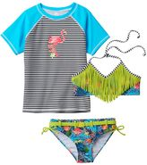 Big Chill Girls 7-16 Rashguard, Fringe Bikini & Scoop Bottoms Swimsuit Set