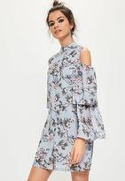 Missguided blue floral cold shoulder swing dress, Blue