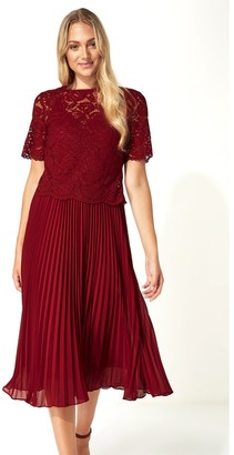 M&Co Roman Originals lace top overlay pleated midi dress