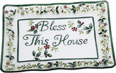 Pfaltzgraff Winterberry Bless This House Clear Glass Platter