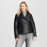 Ava & Viv Women's Plus Rib Panel Moto Jacket Black