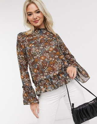 Brave Soul high neck blouse with ruffle hem in floral print