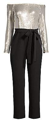 Aidan Mattox Women's Off-the-Shoulder Sequin & Crepe Jumpsuit - Size 0