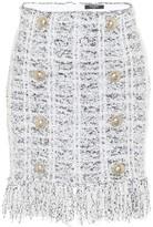 Balmain Tweed Miniskirt -White