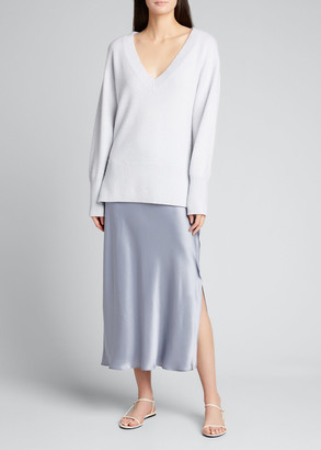Vince Ribbed Hem V-Neck Cashmere Tunic