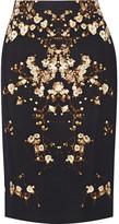Givenchy Tubino Pencil Skirt In Printed Crepe - Black