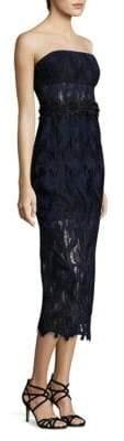 ABS by Allen Schwartz Strapless Lace Midi Dress
