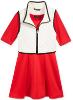 Sequin Hearts 2-Pc. Puffer Vest & Dress Set, Big Girls (7-16)