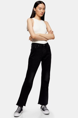 Topshop Womens **Kick Flare Jeans By Washed Black