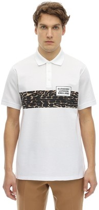 Burberry Leopard Logo Print Cotton Pique Polo