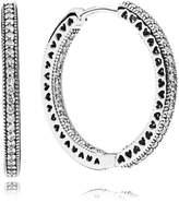 Pandora Aro Earrings 296319CZ Silver Large Classic Hearts