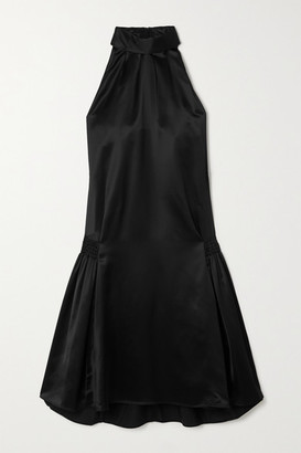 Victoria Victoria Beckham Smocked Satin Halterneck Dress - Black