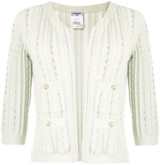 Chanel Pre Owned Vertical Scallops Open Cardigan
