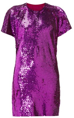 Ashish Cutout-back Sequinned Mini Dress - Pink