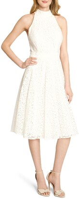 Tahari Floral Daisy Lace Fit & Flare Dress