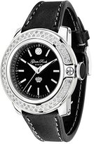 Glam Rock Women's GR31003D SoBe Diamond Accented Black Dial Black Leather Watch