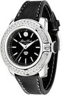 glam rock womens gr31003d sobe diamond accented black dial black leather watch