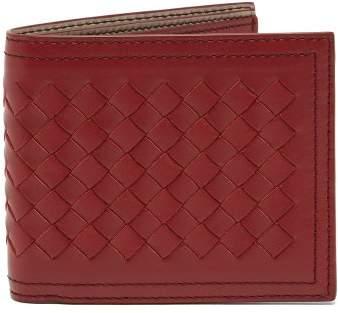Bottega Veneta Intrecciato Bi Fold Leather Wallet - Mens - Burgundy