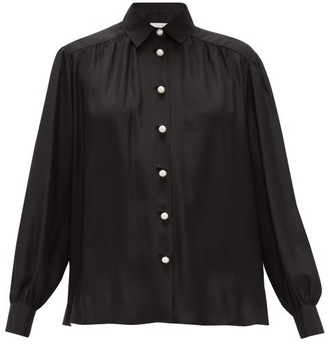 Roche Ryan Faux-pearl Buttoned Silk Blouse - Womens - Black