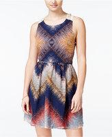 City Studios Juniors' Printed Lace-Back Dress