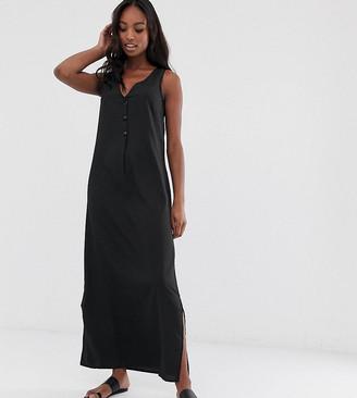 Vero Moda Tall maxi dress with button detail-Black