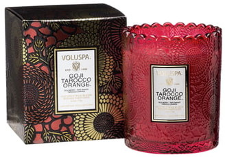 Voluspa Japonica Goji Tarocco Orange Scalloped Edge Embossed Glass Candle
