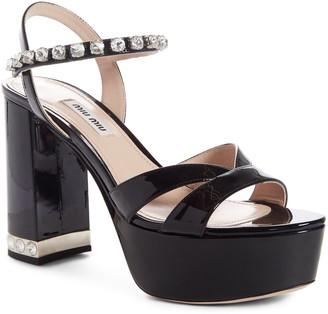 Miu Miu Crystal Strap Block Heel Platform Sandal