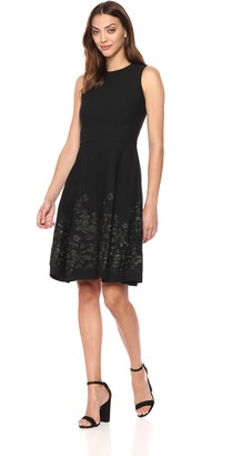Calvin Klein Women's Sleeveless Floral Embroidered Fit and Flare Dress