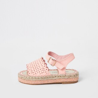 River Island Mini girls Pink cut out espadrille sandals