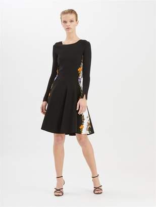 Oscar de la Renta Floral-Embroidered Two-Tone Knit Dress
