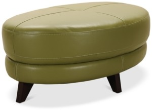 Furniture Myia Leather Oval Ottoman, Created for Macy's