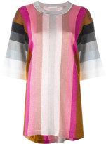 Marco De Vincenzo striped three-quarter sleeve top - women - Polyamide/Polyester/Acetate - 48