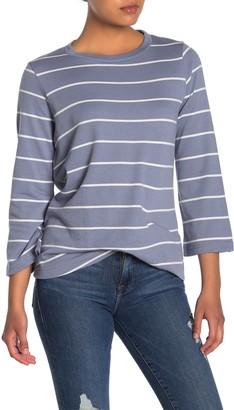 MelloDay Striped Twist Hem Long Sleeve Pullover