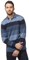 Maine New England Big And Tall Blue Long Sleeve Stripe Polo Shirt