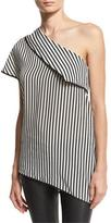 Diane von Furstenberg One-Shoulder Striped Side-Slit Silk Top, Black/White