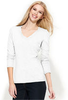 INC International Concepts Petite Top, Long-Sleeve V-Neck Tee