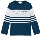 Burberry Blue and White Stripe Branded Long Sleeve Tee