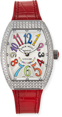 Franck Muller Lady Vanguard Color Dreams Diamond Watch w/ Alligator Strap, Red