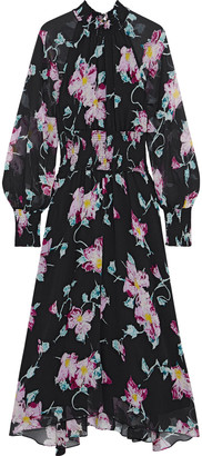 A.L.C. Casey Shirred Floral-print Silk-crepon Midi Dress