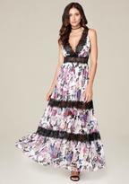 Bebe Print Tiered Maxi Dress