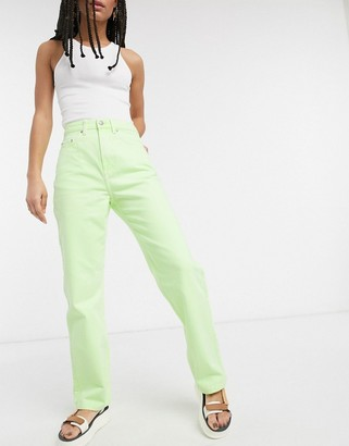 Weekday Rowe organic cotton straight leg jeans in bright green