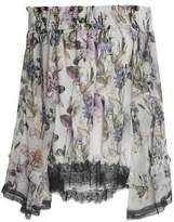 Nicholas Off-The-Shoulder Chantilly Lace-Paneled Shirred Floral-Print Silk-Chiffon Top
