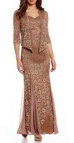 R & M Richards Sequin Lace Jacket Dress